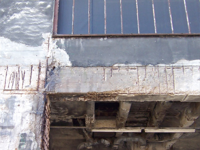 A building damaged by concrete cancer.