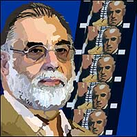 Director Francis Ford Coppola, accompanied by a strip of celluloid from his film The Godfather.