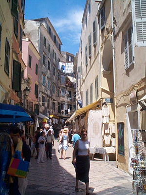 A street in Corfu Town, Corfu, Greece.