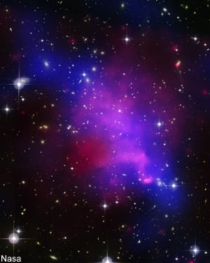 Multi-wavelength image of Abell 520 showing the aftermath of a complicated collision of galaxy clusters