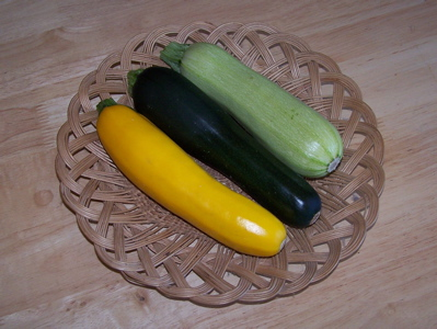 Three courgettes / zucchini of different colours