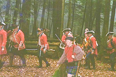 Defeated British march off.