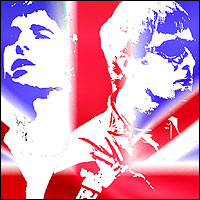 Noel and Liam Gallagher projected in front of a Union Flag.