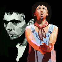 Two images of Kevin Rowland, lead singer of Dexy's Midnight Runners. In the background is a picture of him from 1980 with slicked back hair, while centre is a picture of him in his 'Gypsy' clothes, circa 1982.