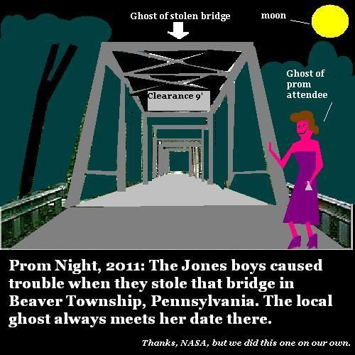 A well-dressed female ghost waits for her prom date.