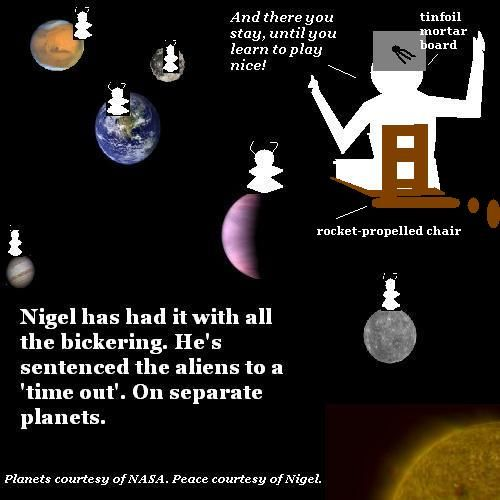 Nigel gives the aliens a Time Out on separate planets.