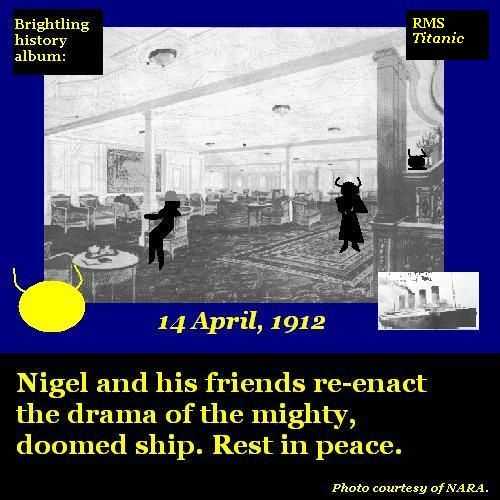 Nigel and his friends re-enact sailing aboard RMS Titanic.