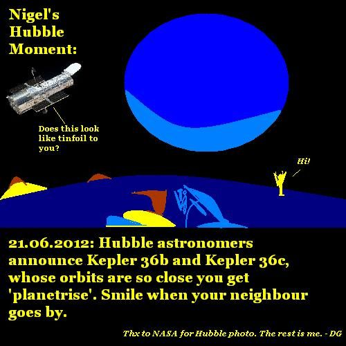 The Hubble Telescope looks at Kepler 36b and 36c.