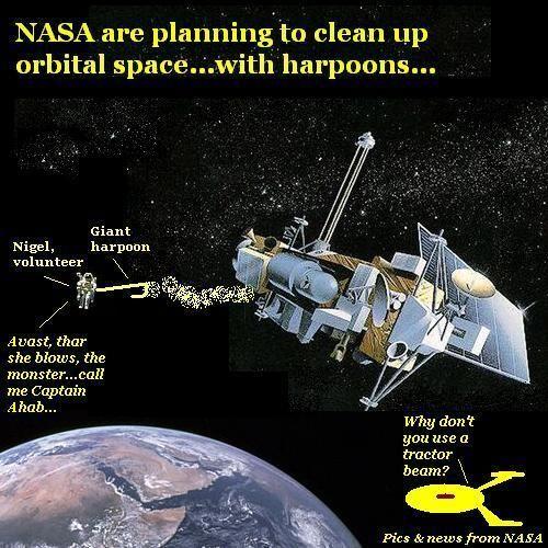 Nigel harpoons a satellite.