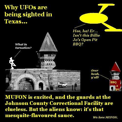 Aliens invade Texas for barbecue.