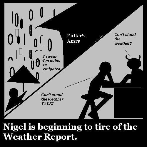 Nigel is tired of weather talk.