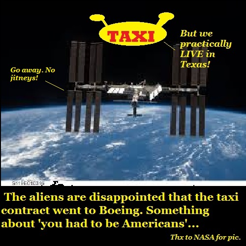The aliens are sad that their taxi bid was rejected by NASA.