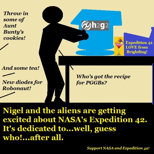 Nigel and the aliens prepare goodies for NASA's Expedition 42.