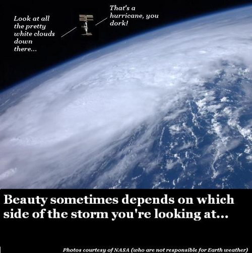 A hurricane viewed from space.
