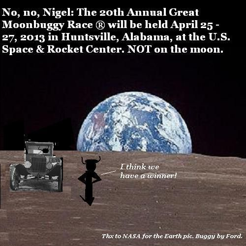 Nigel and the aliens practise moon buggying.