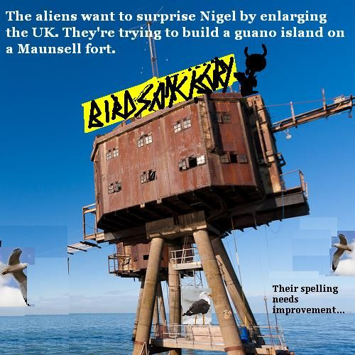 The aliens try to grow British territory with the help of some seagulls.