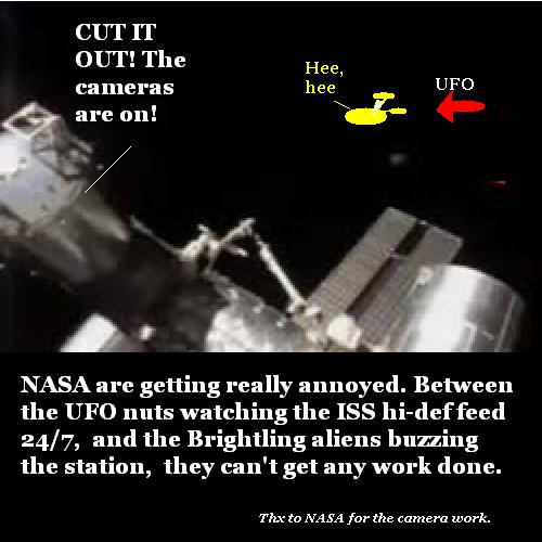 Aliens buzzing the ISS caught on TV.