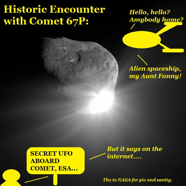 The aliens are disgusted, no aliens on the comet.
