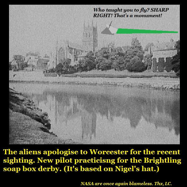 A UFO buzzing Worcester Cathedral.