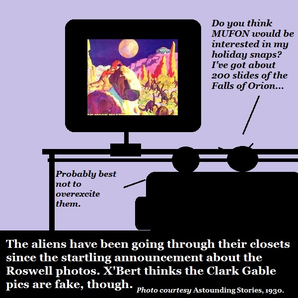 Aliens look through their slide collections.