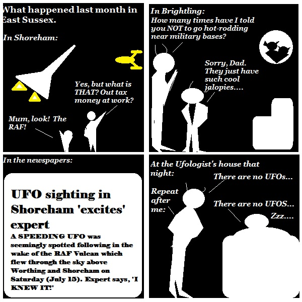 Brightling hotrodders cause local newspaper headlines and the need to reprogram the local Ufologist.