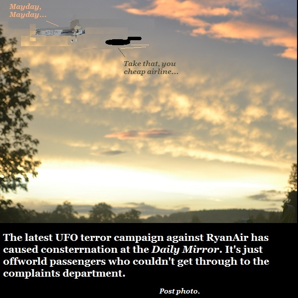 RyanAir passengers are spotting UFOs. It's just a service complaint.