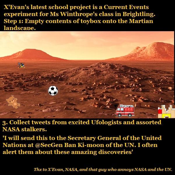 An alien school project involving toys on Mars.
