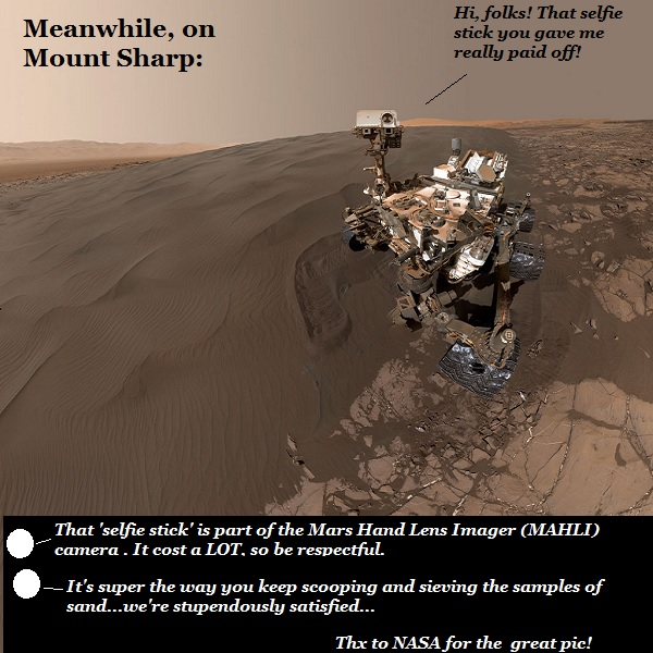 Curiosity takes a selfie, keeps sifting sand.