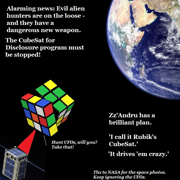 The aliens strike back at Cubesat for Disclosure by siccing their secret weapon on it: Rubik's Cubesat.