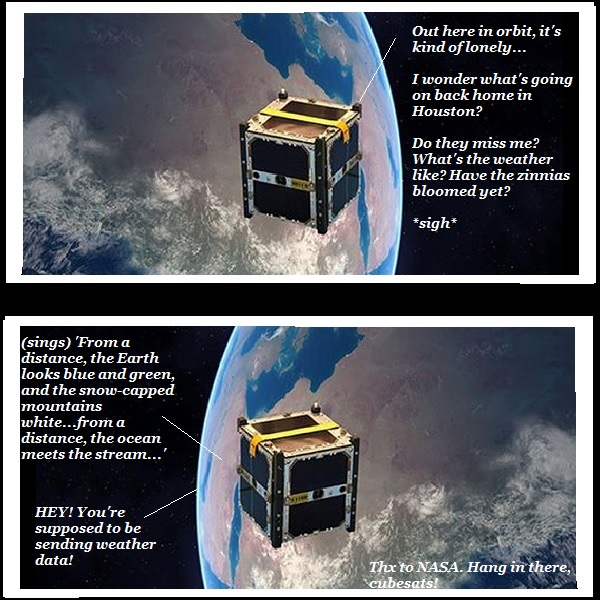 A lonely cubesat sings 'From a Distance' to the Earth below.