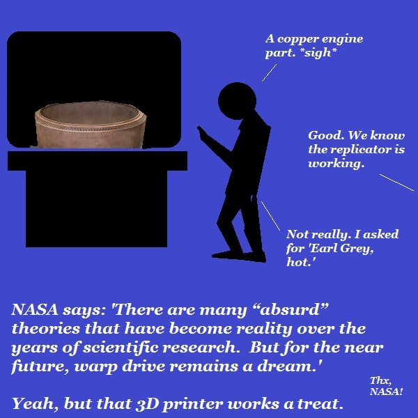 NASA can copy and print copper engine parts, but can it make tea?