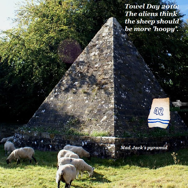 The Brightling aliens are giving everybody towels for Towel Day. Even the sheep over by Mad Jack Fuller's pyramid.