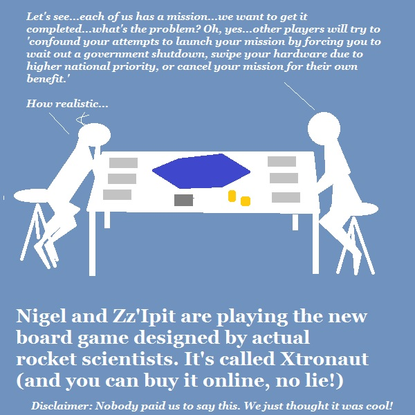 Nigel and his alien friend play the Xtronaut game, designed by a real rocket scientist.