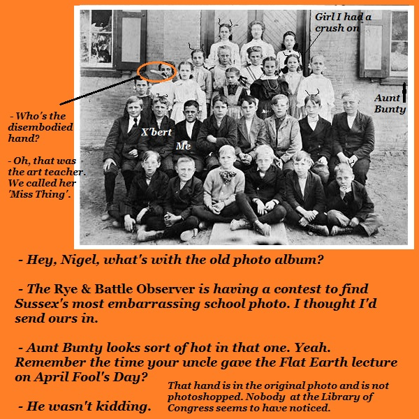 A group school photo of Nigel's class.