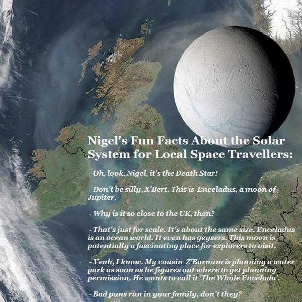 X'Bert's uncle is planning a theme park on Enceladus, a frozen moon.