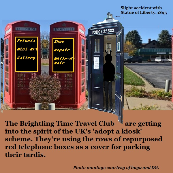 The Time Travel Club disguise their tardis as a repurposed telephone box.