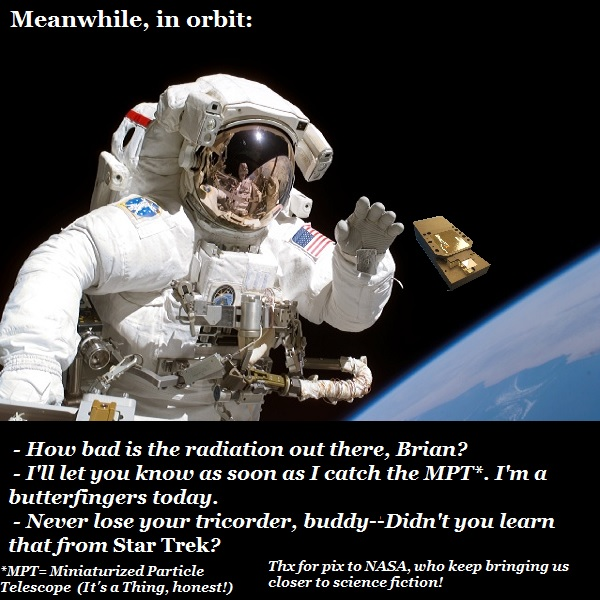 An astronaut outside the ISS trying to recapture his MPT device.
