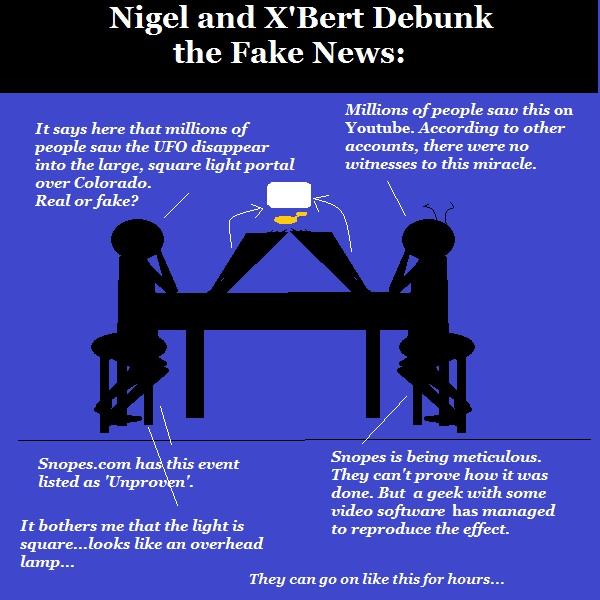 Nigel and X'Bert debate the latest UFO sighting. They suspect CGI.