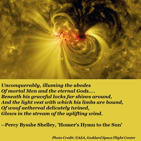 A NASA photo of a sunspot, and a poem by Shelley that seems eerily prophetic.