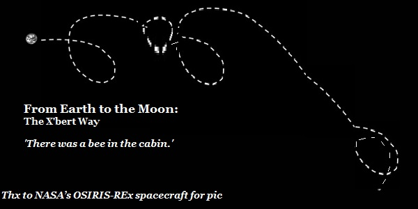 NASA's OSIRIS-REx spacecraft captures the flight path of X'bert from Earth to the moon. His excuse is that there was a bee in the cabin.