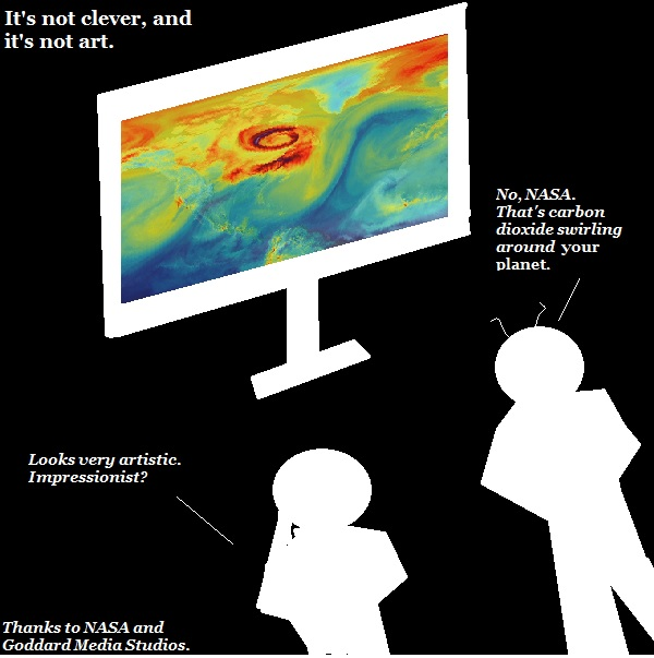 Nigel and X'bert study NASA's visual image of CO2 in Earth's atmosphere.