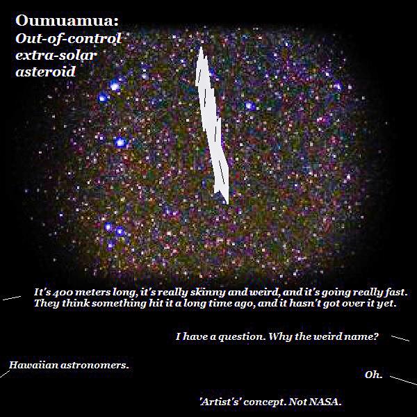 'Artist's' rendering of Oumuamua by Dmitri Gheorgheni