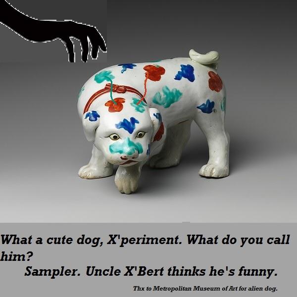 Sampler the alien dog has multicoloured spots.