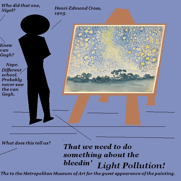 Nigel studies a painting from the early 1900s, and concludes that light pollution must go.'