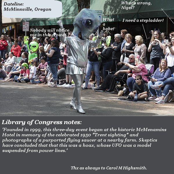 Nigel and the aliens attend the annual UFO parade in McMinnville, Oregon, where a fake UFO was sighted once. The aliens enjoy not worrying about being noticed, but Nigel wishes he'd brought a stepladder because the bystanders are too tall.
