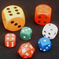 Different colours and shapes of dice.