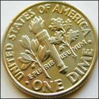 An American one dime coin.