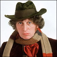 The fourth Doctor, Tom Baker, in a hat.