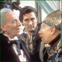 William Hartnell as The Doctor, Mark Eden as Marco Polo and Martin Miller as Kublai Khan in the 1964 Doctor Who adventure, 'Marco Polo'.
