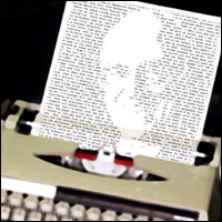 A typewriter with a piece of typed paper, the words forming the face of the author Donald Westlake.